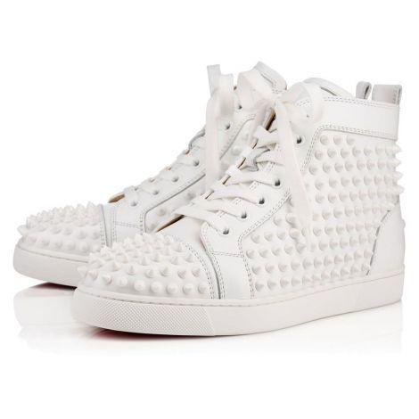 Christian Louboutin Ayakkabı Spikes Beyaz - Christian Louboutin Spor Louis Woman Flat Calf Spikes Beyaz