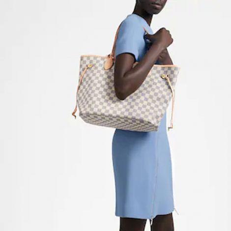 Louis Vuitton Çanta Neverfull Beyaz - Louis Vuitton Canta Lvc Neverfull Mm Damier Azur Beyaz