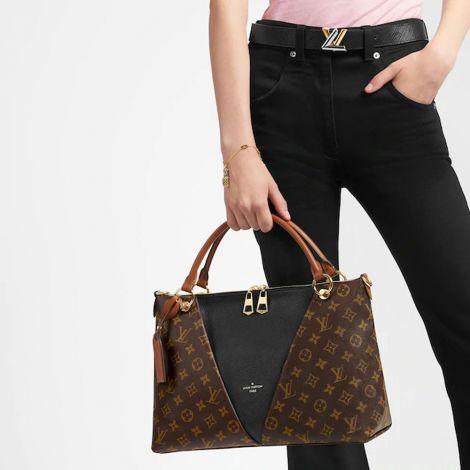 Louis Vuitton Çanta V Tote Kahverengi - Louis Vuitton Canta Lvc V Tote Mm Monogram Siyah Kahverengi