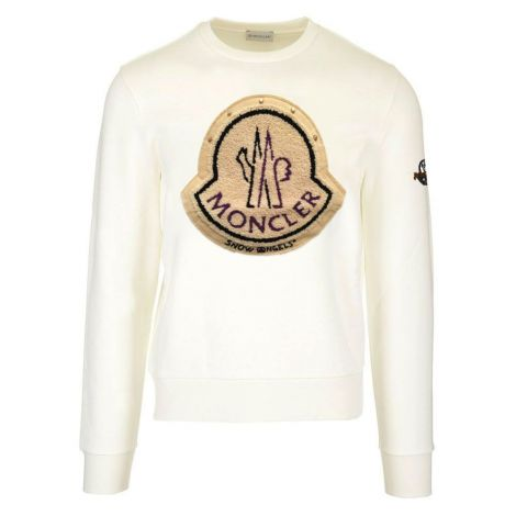 Moncler Sweatshirt 8 Palm Angels Beyaz - Moncler Snow Angels Palm 8 Sweatshirt Logo Beyaz