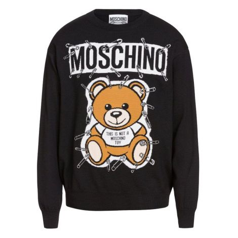 Moschino Sweatshirt Teddy Siyah - Moschino Kazak Safety Pin Teddy Atac Kilit Erkek Siyah Black