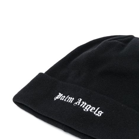 Palm Angels Bere Logo Siyah - Palm Angels Logo Embroidered Beanie Bere Siyah