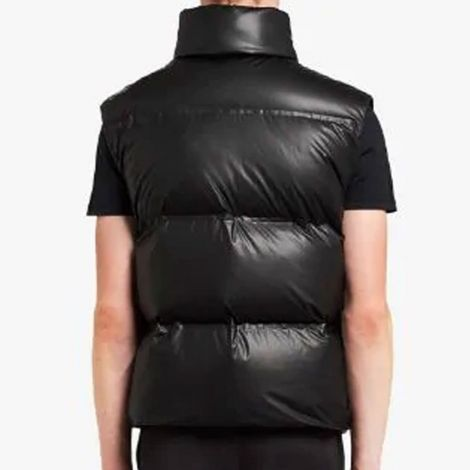 Prada Yelek Puffer Siyah - Prada Yelek Logo Patch Puffer Gilet Erkek Siyah