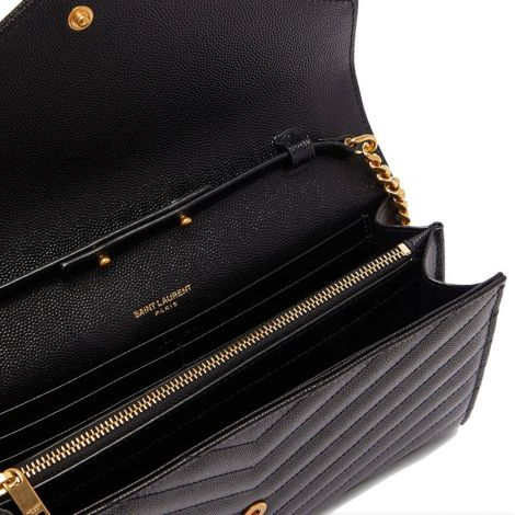 Saint Laurent Çanta Chevron Siyah - Ysl Canta Chevron Quilted Grained Leather Shoulder Bag Siyah